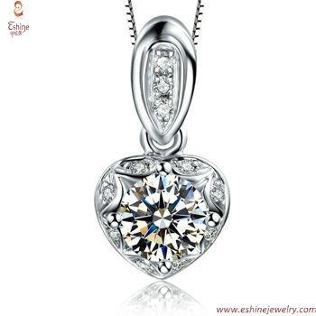 ST1935 - Diamond heart jewelry set with bridal pendants wedd