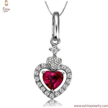 ST1938 - corporate gifts Garnet CZ heart jewelry set for awa