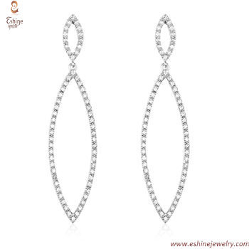 ST2176 - Sterling silver dangling marquise line earring & pe