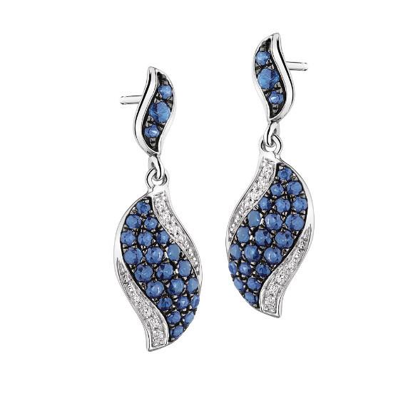 ST2433 - Micropave Sapphire CZ windblow jewelry set made by