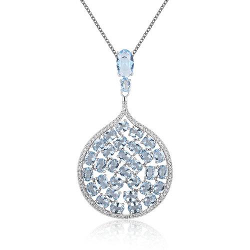 ST2235 - Luxury Aqua glass dangling jewelry set made by chin