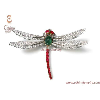 BO1011 - butterfly brooch with micropave clear CZ & Ruby eme