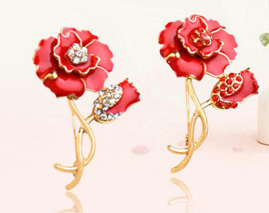 NFR040 - exquisite craftsmanship 18K gold Rose brooch for br