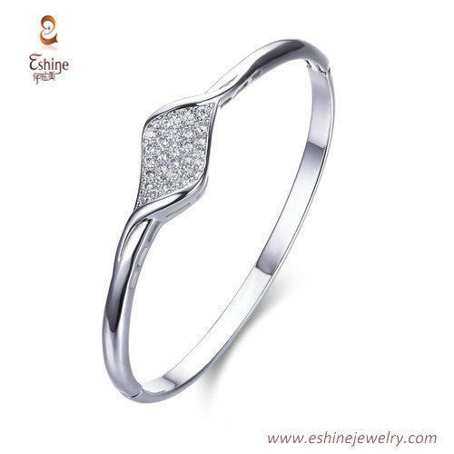 BA1095 - Micropaved clear CZ white rhodium bangle for women