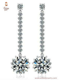 ER3461 - Round diamond dangling earring with white rhodium p