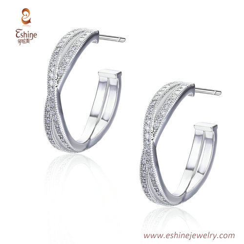 ER3473 - C shape earring with micropave clear CZ