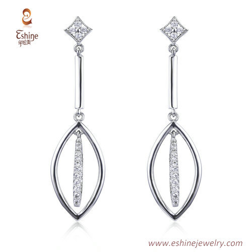 ER3490 - Marquise dangling earring with clear cz