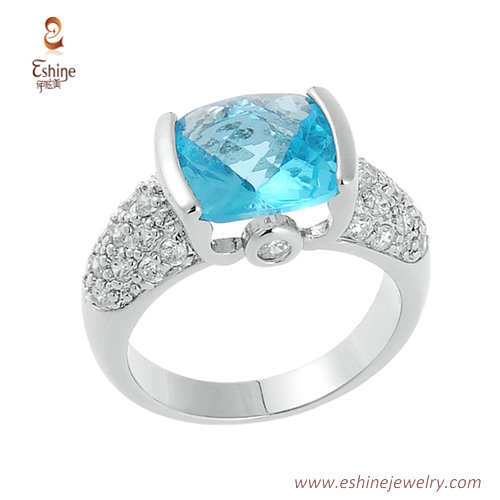 RI3929 - Aquamarine cushion ring with clear CZ micropaved fr