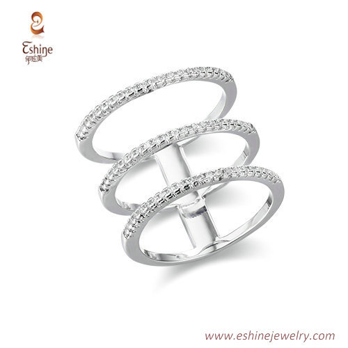RI4180 - Tiny line style 3 rins sets with white rhodium plat