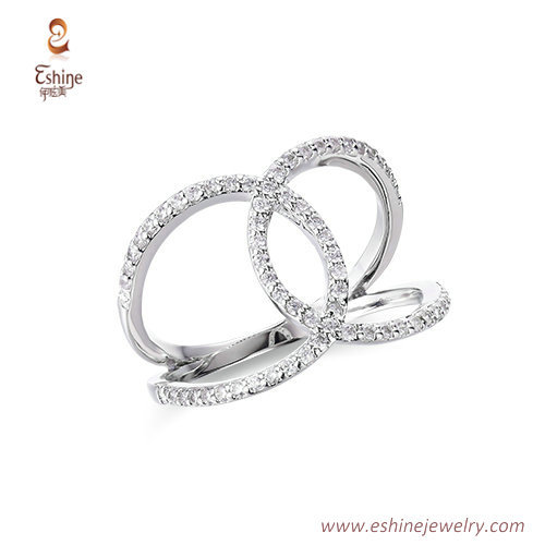 RI4179 - TINY line style embrace ring for lovers