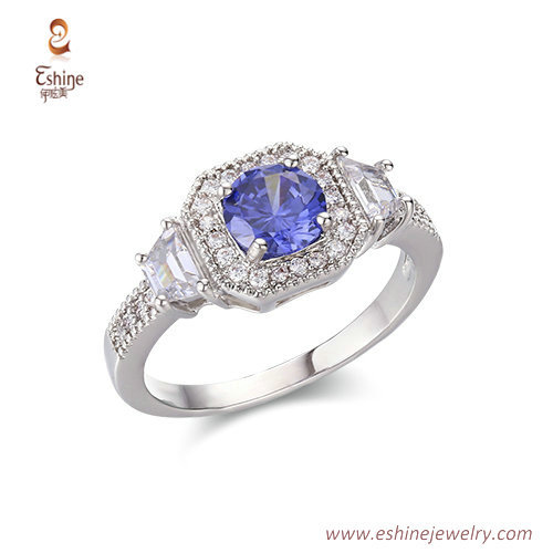 RI4210 - white rhodium sapphire engagement ring with micropa
