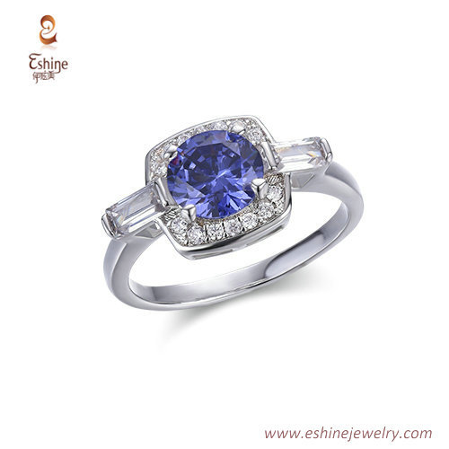 RI4224 -  White rhodium round sapphire ring with bagutter &