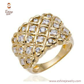RI4236 - 14K gold plating ring with prong set clear CZ