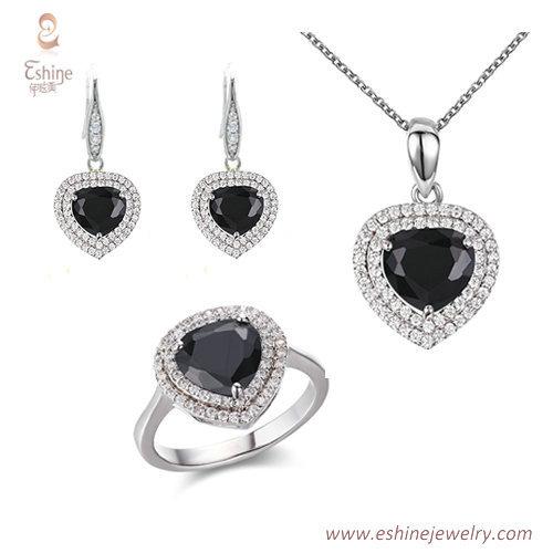 ST2227 -  Trillion cut Black Cubic zircon jewelry sets with