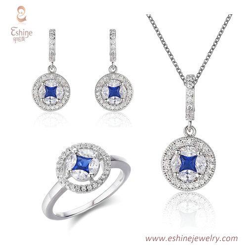 ST2226 - Princess cut Sapphire Cubic zircon jewelry sets wit