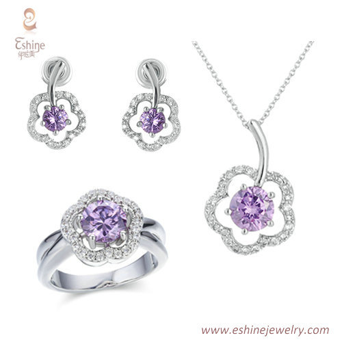 ST1705 - round amethyst CZ jewelry set from China jewelry ma