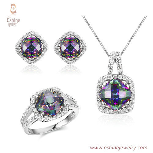 ST2059 -Cushion Mystic file CZ jewelry set from China jewelr
