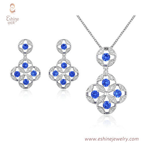 ST2068 - Sapphire CZ jewelry set from China jewelry wholesal