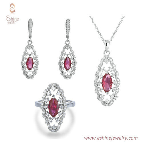 ST2073 -Marquise ruby CZ jewelry set from China jewelry whol