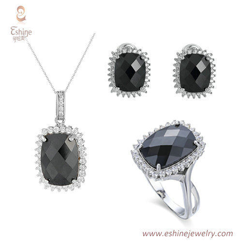 ST2112 - Checkboard black CZ jewelry set from China jewelry