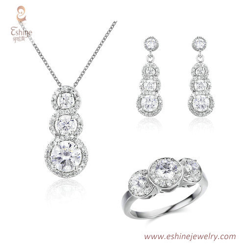 ST2140 - ROUND shape dangling jewelry set with Bezel set 3 s