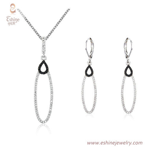 ST2145 - Marquise shape dangling jewelry set with micropave
