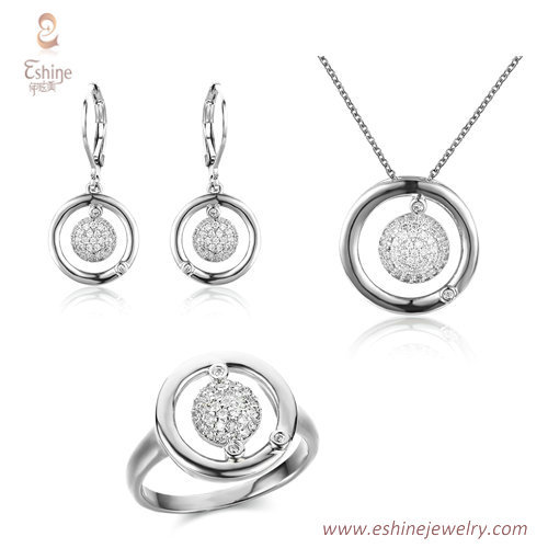 ST2149 - Round shape dangling jewelry set with micropave cle