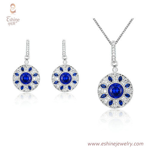 ST2165 - roound shape dangling jewelry set with marquise sap