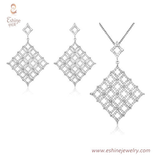 ST2171 - rhombus shape dangling jewelry set with micropave c