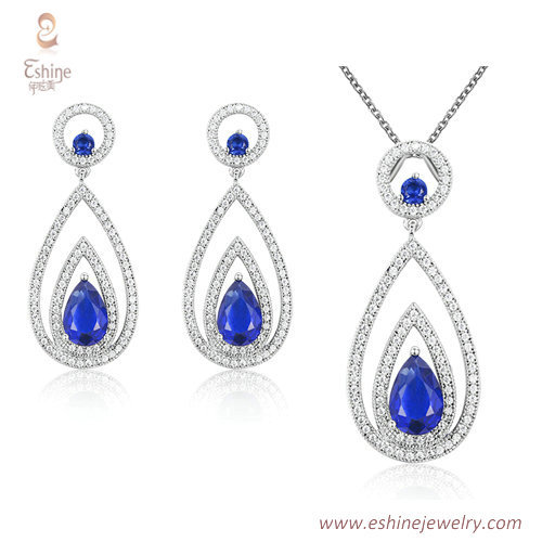 ST2179 - Teardrop shape dangling jewelry set with micropave