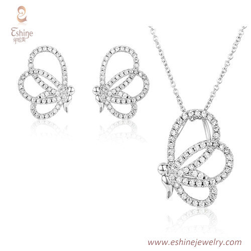 ST2184 - butterfly micropave clear Cubic zircon jewelry sets
