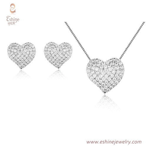 ST2188 - Heart shape micropave clear Cubic zircon jewelry se