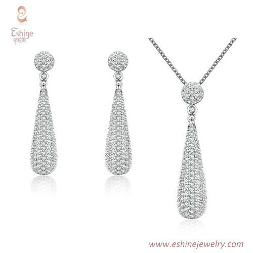 ST2196 - Teardrop shape micropave clear Cubic zircon jewelry