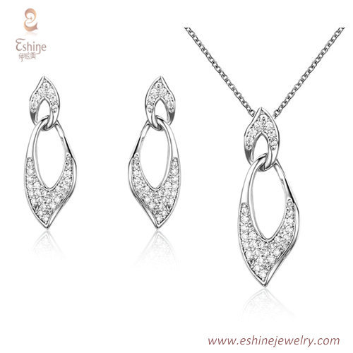 ST2197 - Hollow leaf shape Clear Cubic zircon jewelry sets w