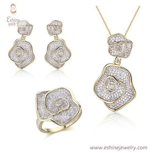 ST2205 - Flower blossom shape micropave round cut clear Cubi