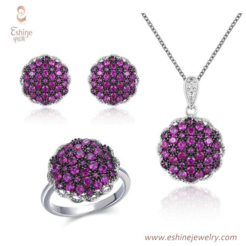 ST2212 - Round shape micropave ruby Cubic zircon jewelry set
