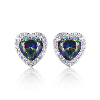Brass Heart Mystic fire CZ earrings with Micropave AAA Clear