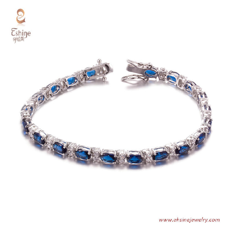 BR3421- Bracelet with oval Sapphire cz & Rhodium plating