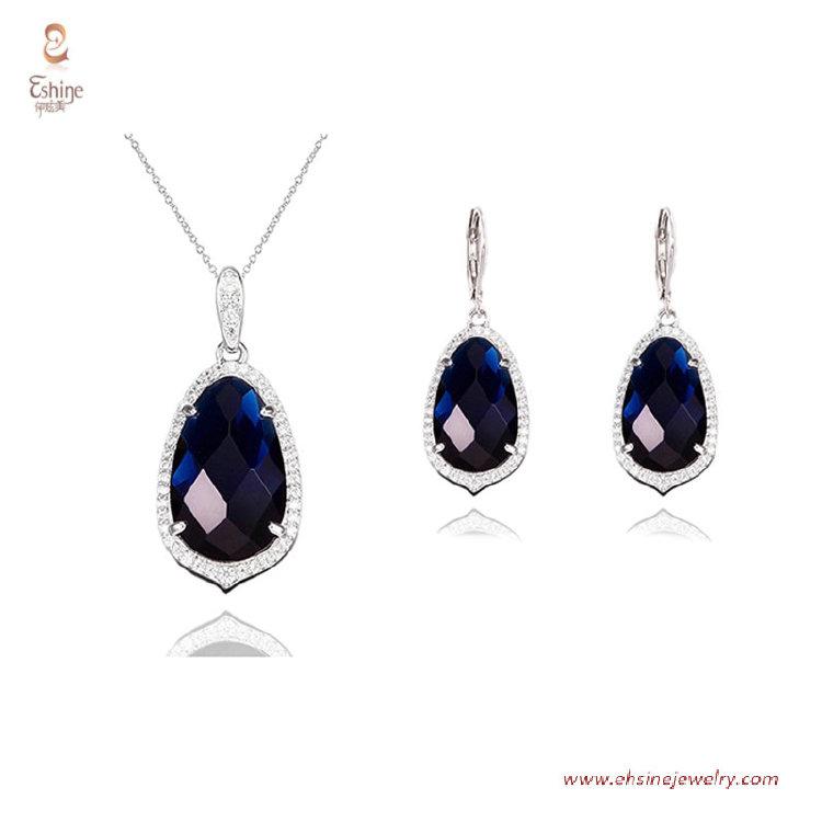 ST2568 - Checkboard cut Sapphire Cubic zircon jewelry sets w