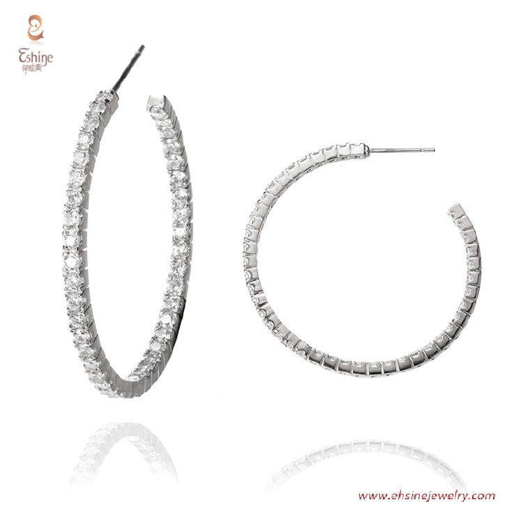 ER3601-40MM hoop earring collection - Rhodium plating clear