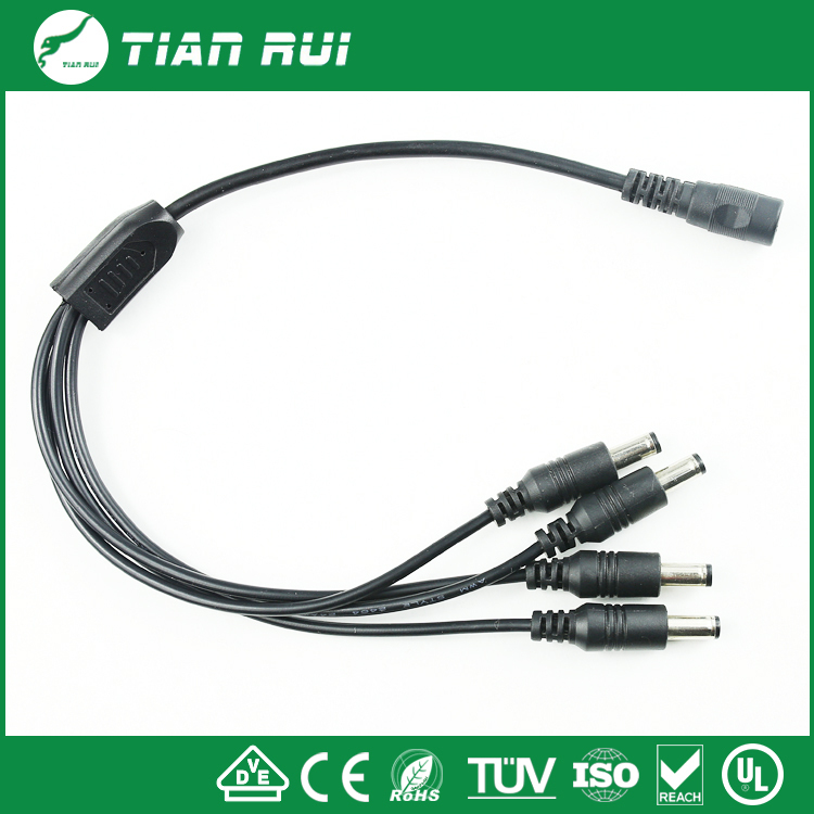 DC one in four Power cable connector wire