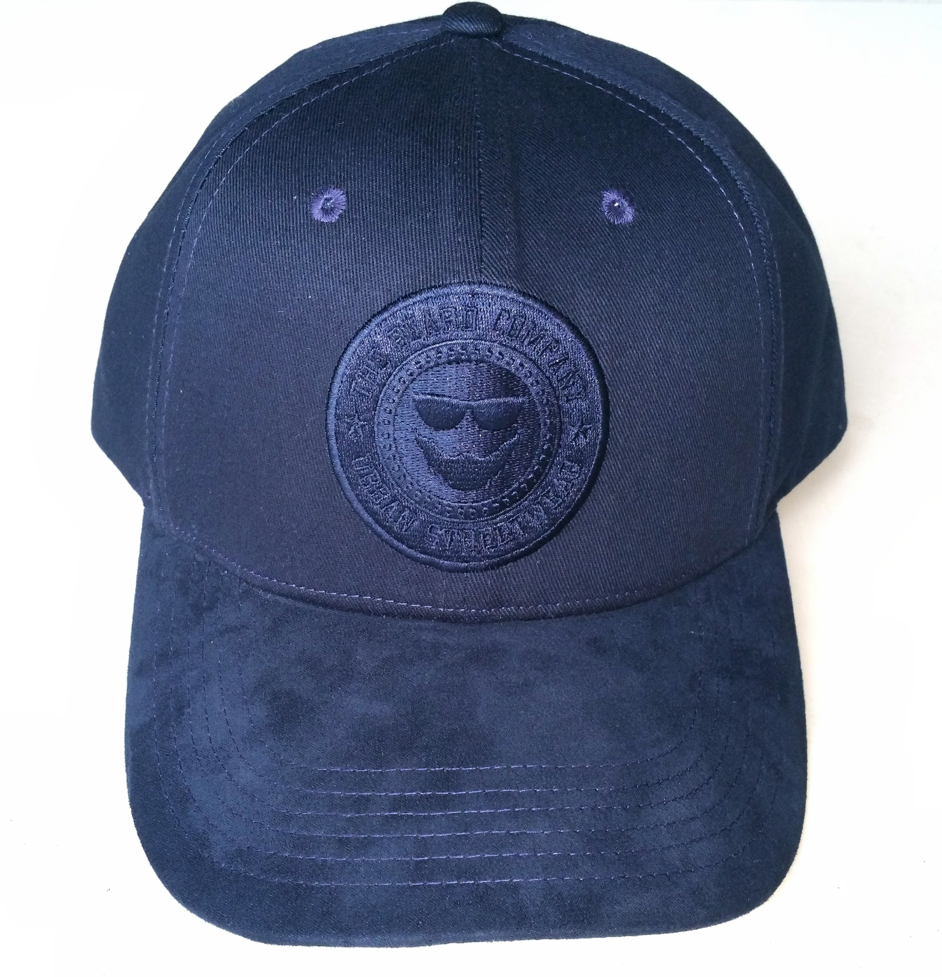 Navy blue cotton patch embroidery 6 panel baseball cap
