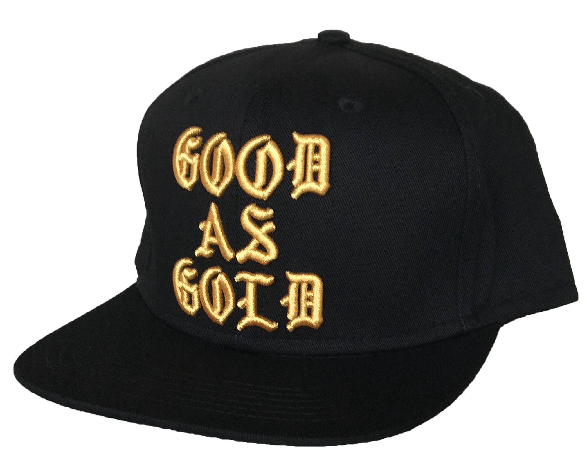 Custom 6 panel metallic gold embroidery snapback cap hat