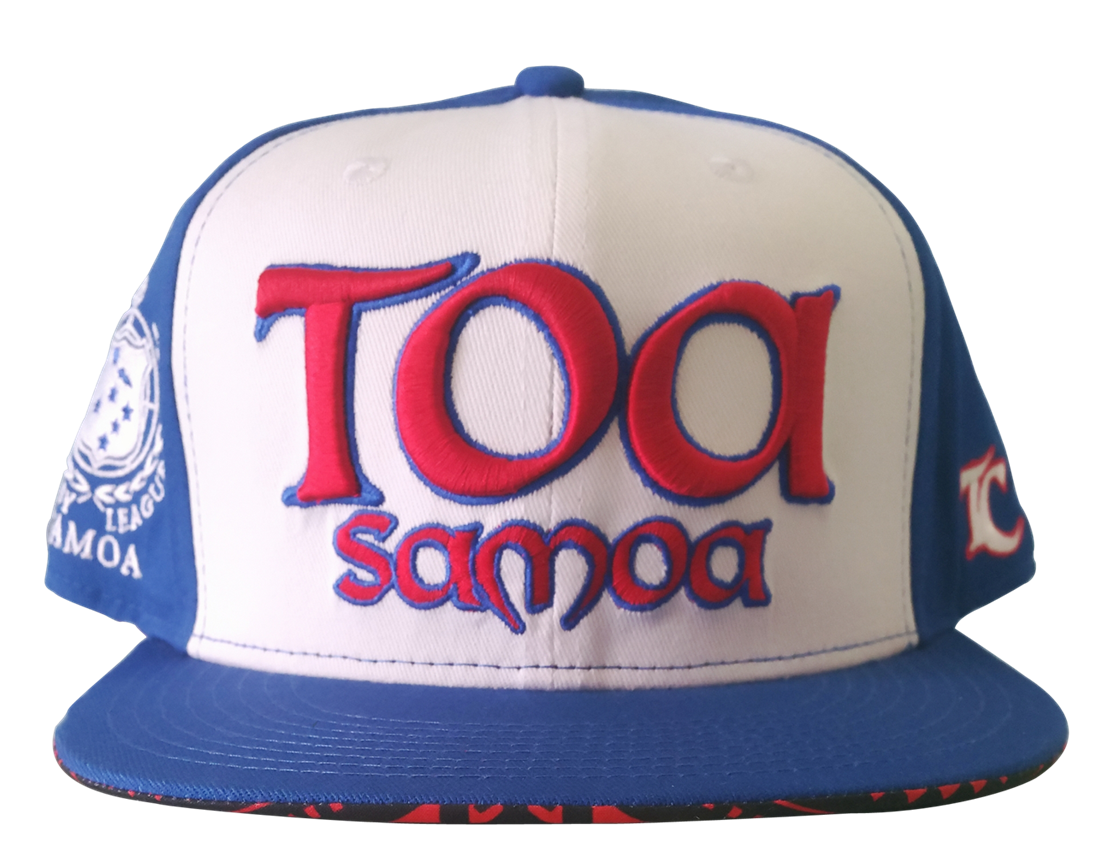 100% white cotton twill crown with blue brim snapback cap
