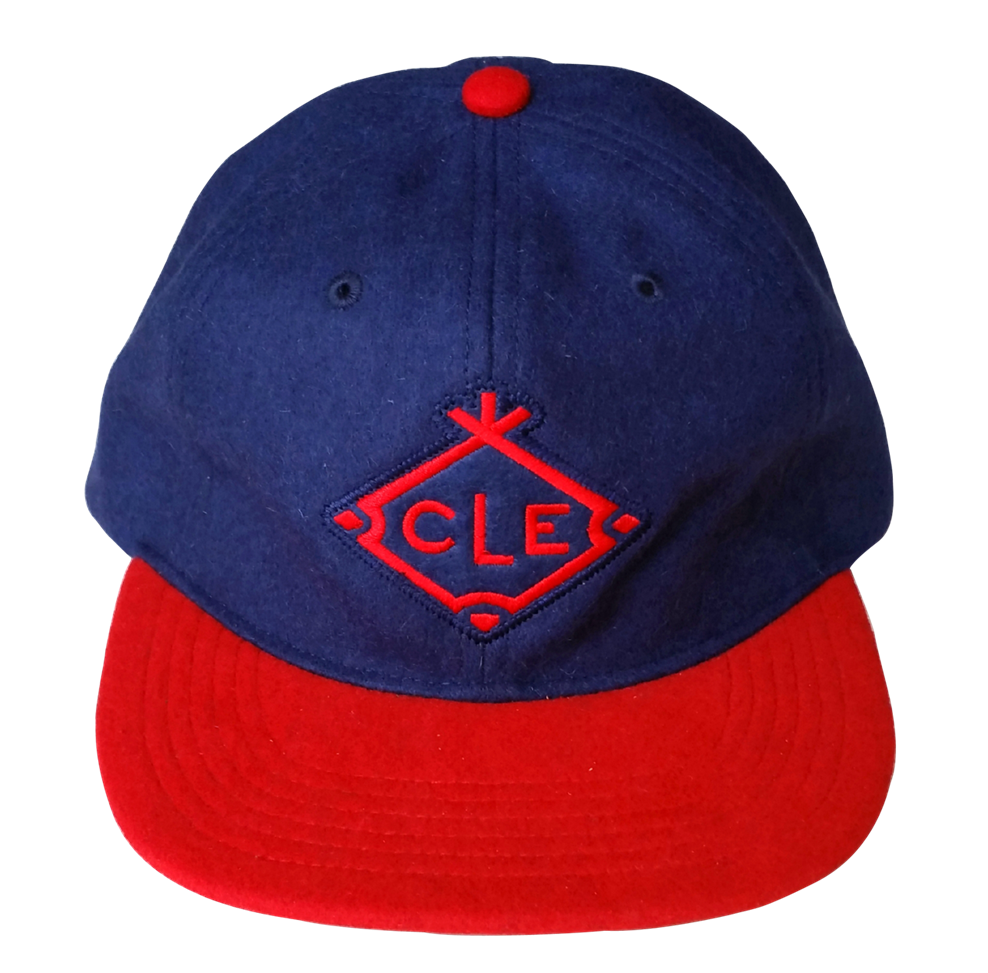 Dark blue wool/Blend material leather strap snapback cap