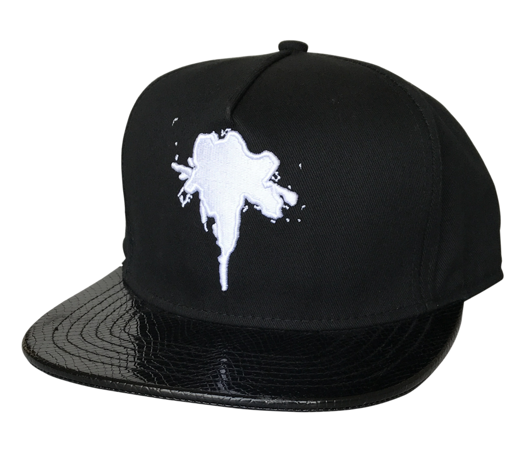 Custom black leather brim snapback cap factory