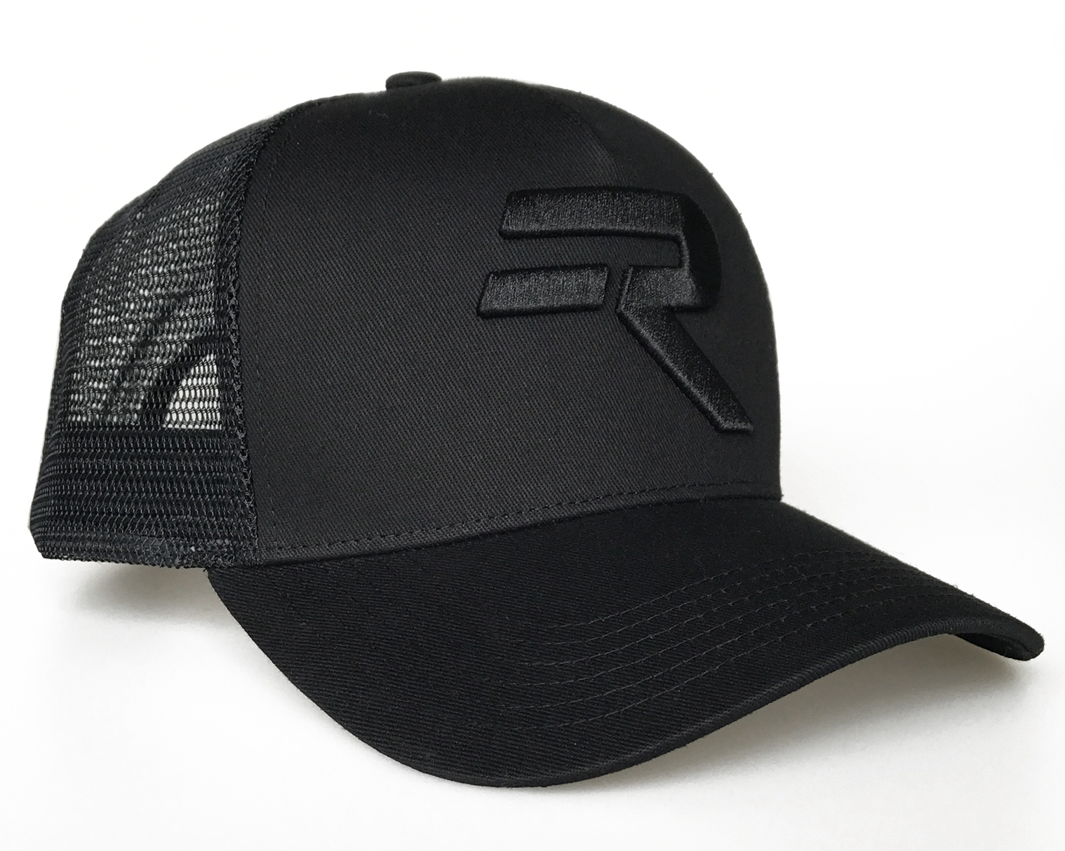 Solid black 5 panel  3D embroidery logo trucker hat