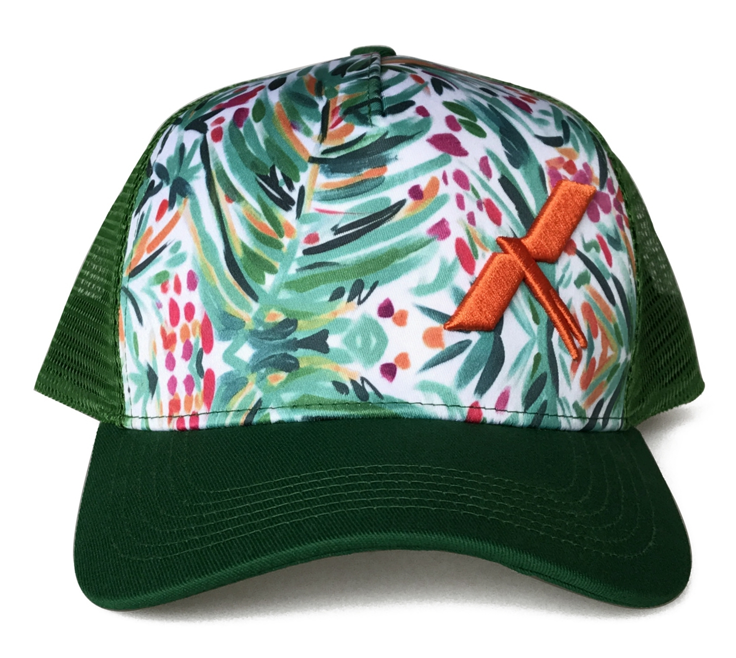 5 panel printing crown orange 3D embroidery logo trucker hat