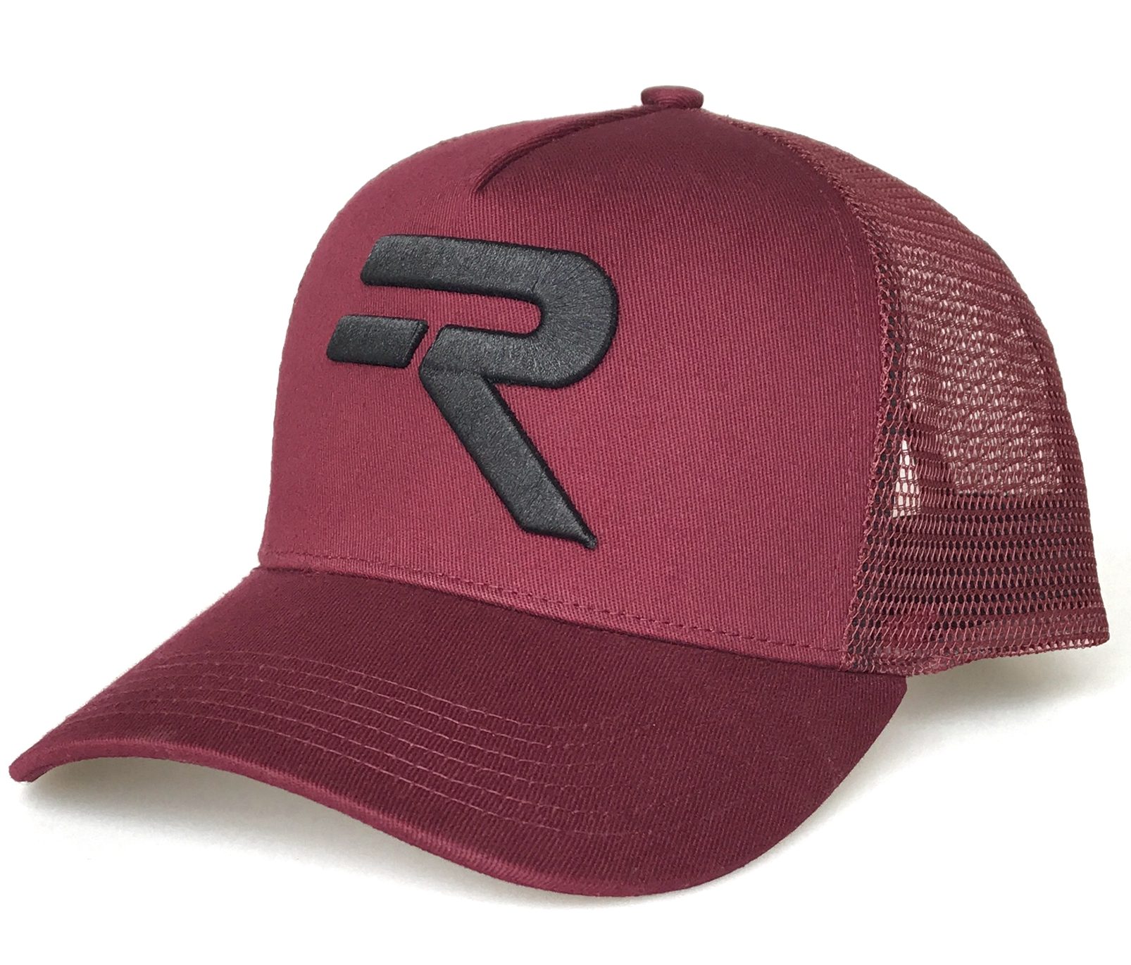 5 panel maroon a frame black embroidery logo trucker hat