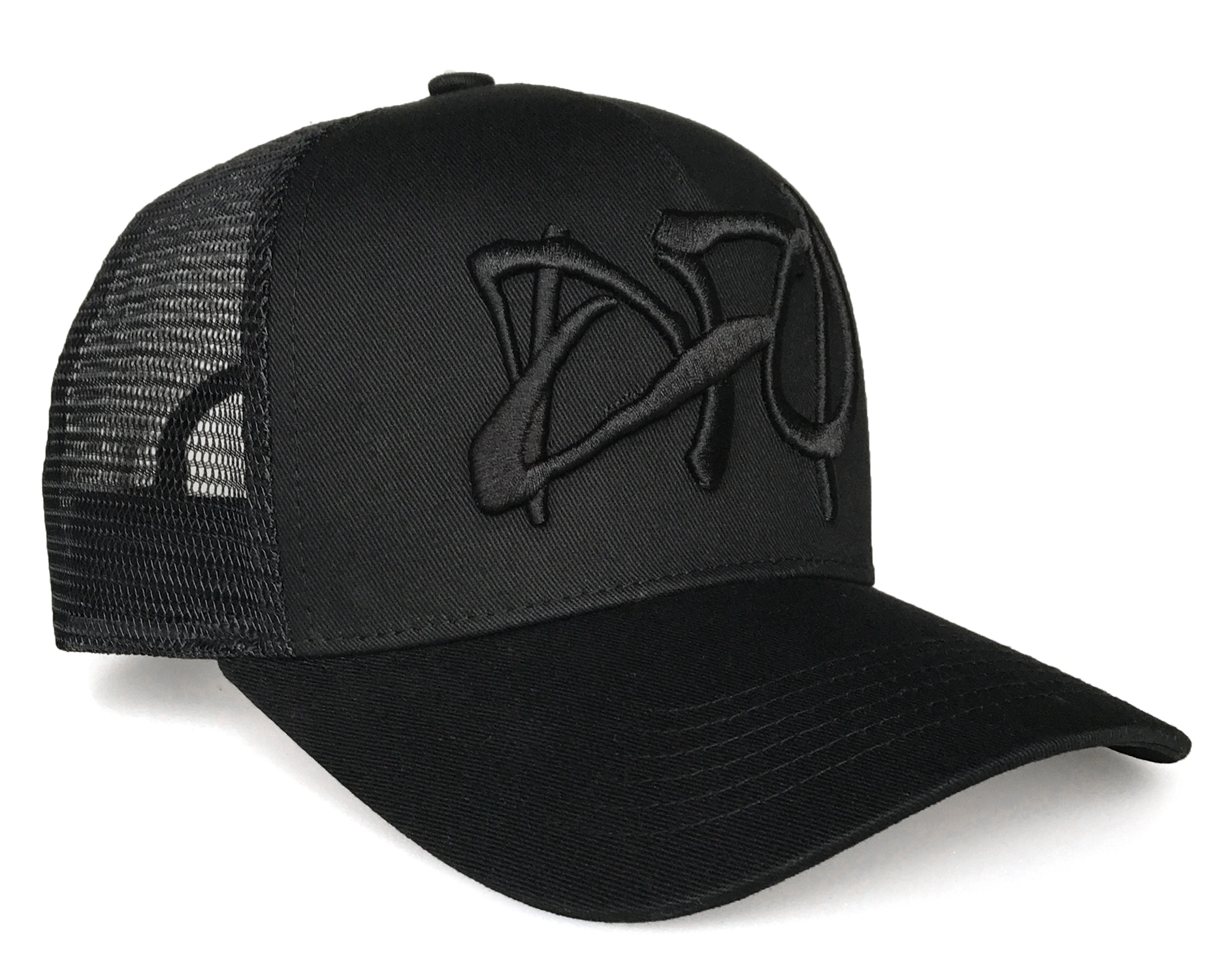 Fashion 5 panel style black logo 3D embroidery trucker hat